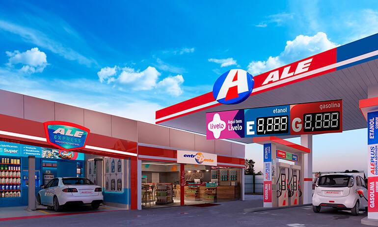 Posto de combustível da ALE, com loja de conveniência Entreposto e troca de óleo ALE Express.